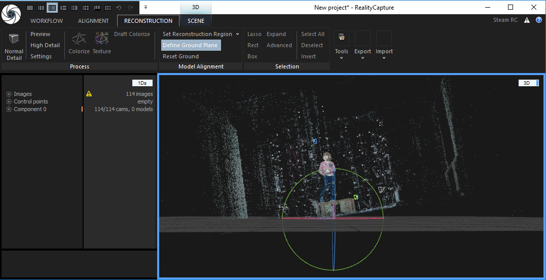 Process a 3D Scan with projection in Reality Capture (RC)